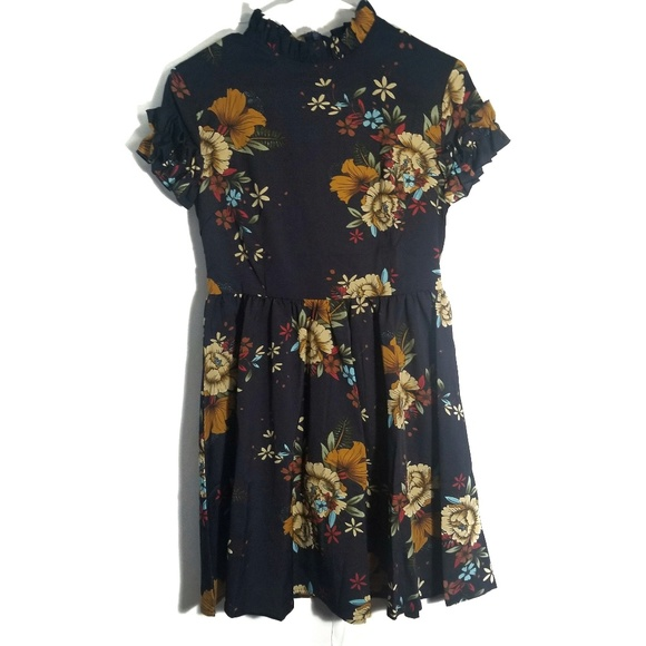 SHEIN Dresses & Skirts - SHEIN Navy Floral Ruffle Fit & Flare Dress / S
